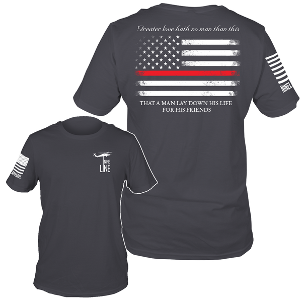 Thin Red Line Heavy Metal Grey T-Shirt- Nine Line Men's Short Sleeve Tee Shirt - Star Spangled 1776