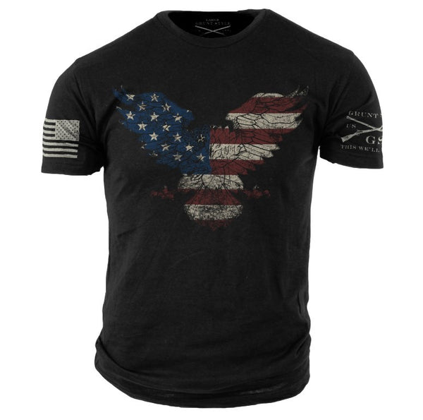 Freedom Eagle T-Shirt- Grunt Style Men's Black Tee Shirt - Star Spangled 1776