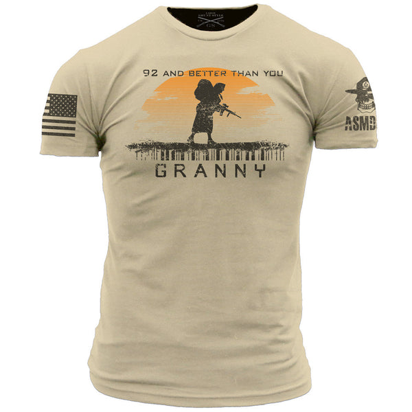 Granny T-Shirt- Grunt Style ASMDSS Men's Tan Tee Shirt - Star Spangled 1776