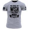 Make Me Wish T-Shirt- Grunt Style ASMDSS Men's Grey Tee Shirt - Star Spangled 1776