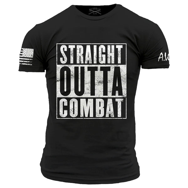 Straight Outta Combat T-Shirt- Grunt Style AWN Men's Tee Shirt - Star Spangled 1776