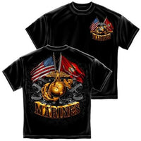 Double Flag Gold Globe Marine Corps T-Shirt - Star Spangled 1776