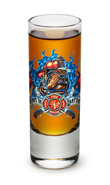 First In Last Out Firefighter Shooter Shot Glass - Star Spangled 1776