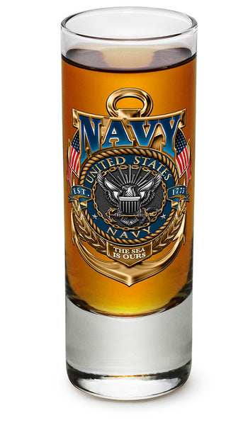 Navy The Sea Is Ours Shooter Shot Glass - Star Spangled 1776