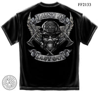 Steel Fire Wings With Foil Stamp T-Shirt- Firefighter Men's Tee Shirt - Star Spangled 1776