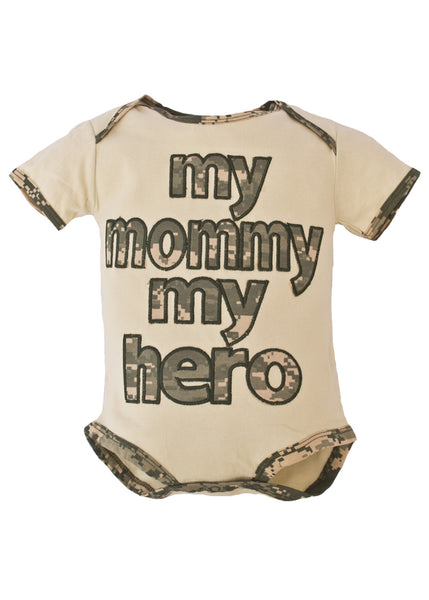 My Mommy My Hero Embroidered Infant Cotton Onesie Bodysuit - Star Spangled 1776