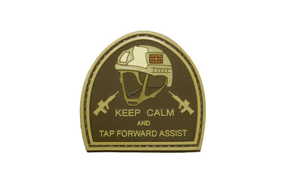 Keep Calm And Tap Forward Assist PVC Hook Back Patch - Tan and Brown - Star Spangled 1776