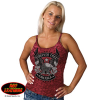 Spaghetti Strap BurnOut Rocker Upwing Eagle Tank Top - Star Spangled 1776