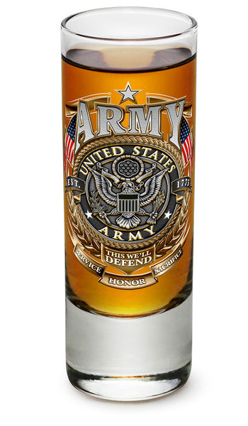 Army Gold Shield Shooter Shot Glass - Star Spangled 1776