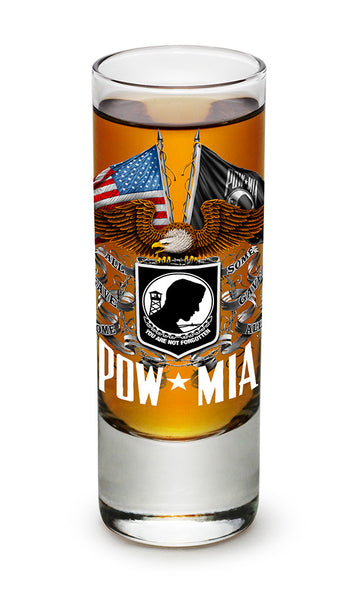 Double Flag Eagle POW Shooter Shot Glass - Star Spangled 1776