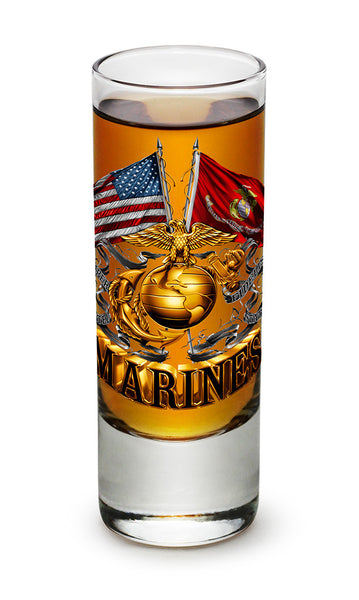Double Flag Gold Globe Marine Corps Shooter Shot Glass - Star Spangled 1776