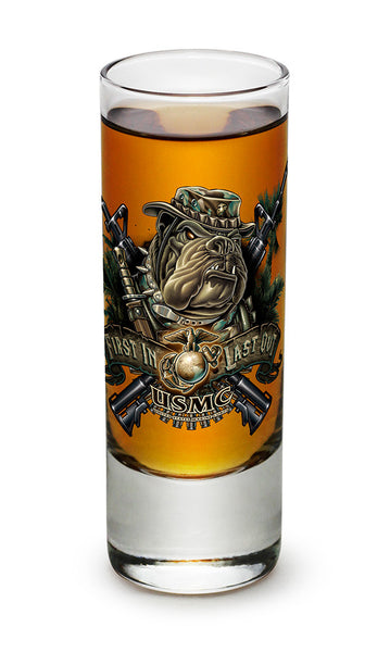 Marine Devil Dog First In Last Out Shooter Shot Glass - Star Spangled 1776