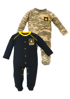 Infant Toddler 2 Piece Black and ACU Cotton Crawler Set - Star Spangled 1776