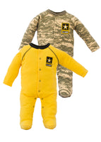 Infant Toddler 2 Piece Gold and ACU Cotton Crawler Set - Star Spangled 1776