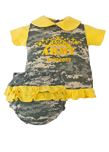 Infant 2 Piece Cotton Gold Princess Dress Set - Star Spangled 1776