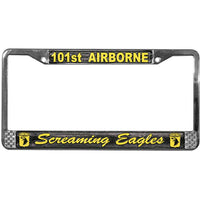 Army 101st Airborne Division Army Chrome License Plate Frame - Star Spangled 1776