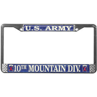 Army 10th Mountain Division Chrome License Plate Frame - Star Spangled 1776