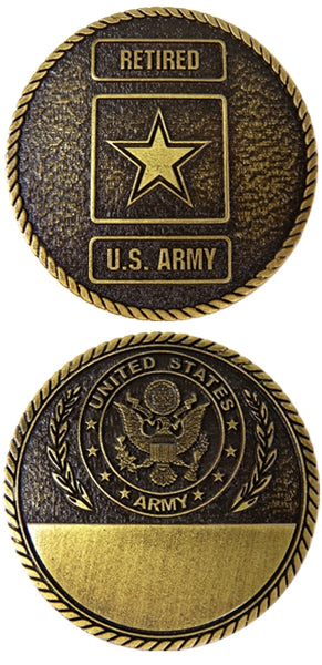 Army Retired Engravable Challenge Coin - Star Spangled LLC