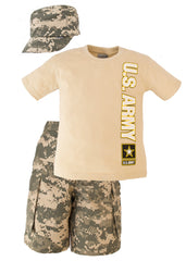 Army 3 Pc Youth ACU Shorts, T-Shirt and Hat Set