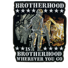 "Brotherhood Embroidered 5"" X 6"" Hook Back Patch"