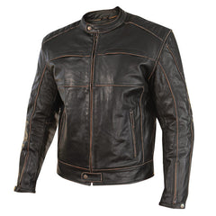 Men's 'Boone Charcoal' Dark Brown Leather Jacket