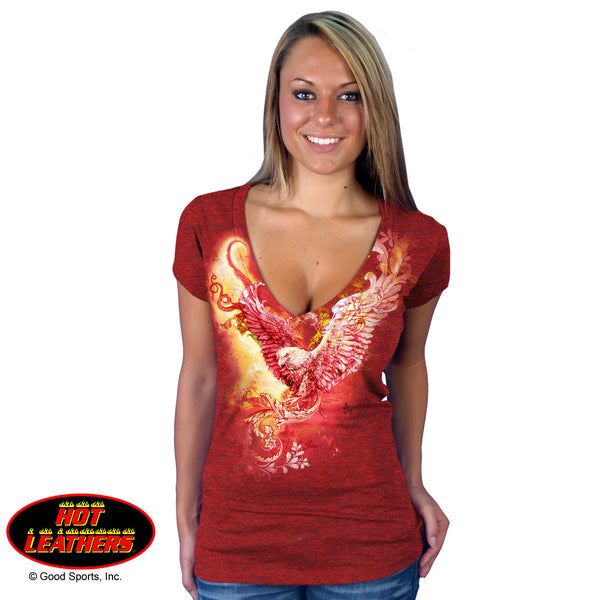 Decorative Eagle Semi-Sheer V-Neck T-Shirt - Star Spangled 1776