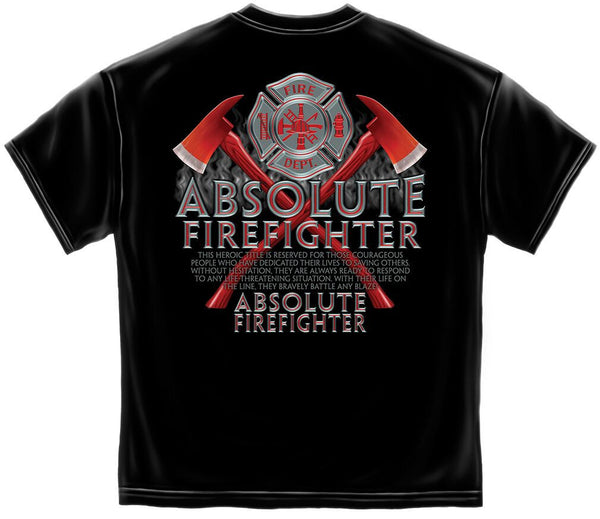Absolute Firefighter T-Shirt- Black Cotton Short Sleeve Tee Shirt - Star Spangled 1776
