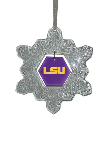 LSU Tigers Glass Snowflake Ornament - Star Spangled 1776