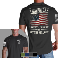 Get The Hell Out Heavy Metal T-Shirt- Nine Line Men's Short Sleeve Tee Shirt - Star Spangled 1776