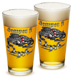 16 Ounces Pint Glass Semper Fi Chrome Dog Marine Corps