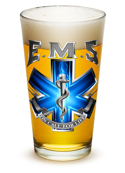 16 Ounces Pint Glass EMS On Call For Life