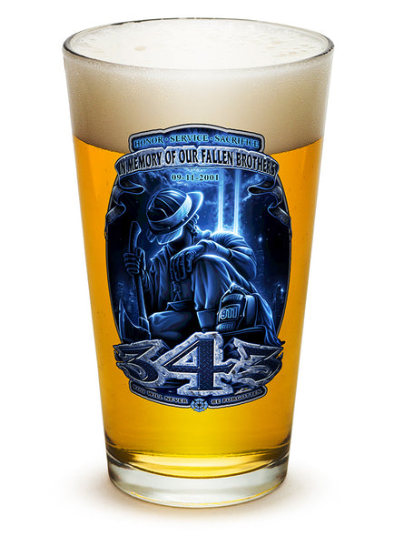 16 Ounces Pint Glass 343 You Will Never Be Forgotten