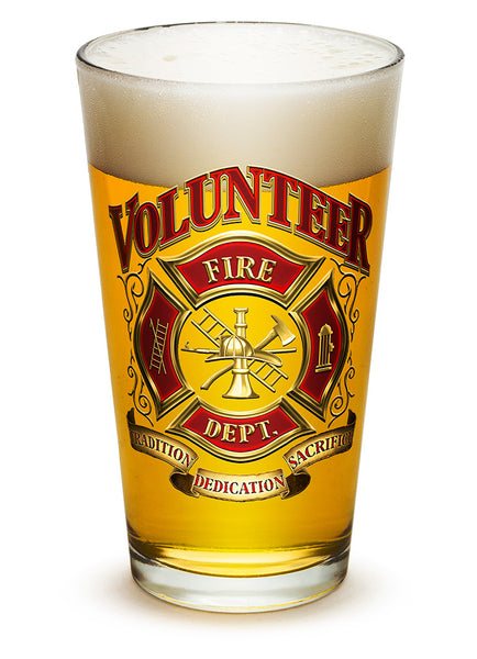 16 Ounces Pint Glass Volunteer Firefighter