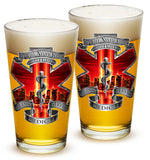 16 Ounces Pint Glass Tribute High Honor Red EMS