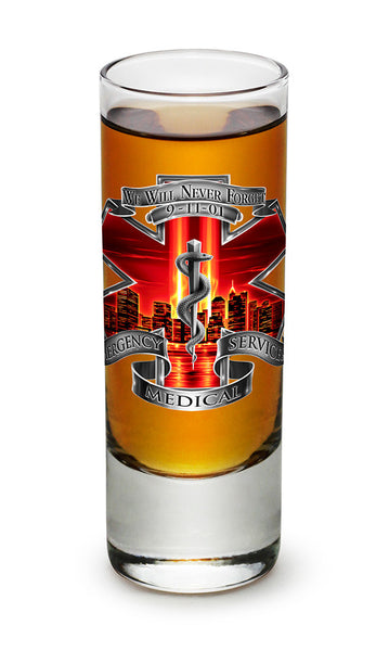 2 Ounces Shooter Shot Glass Tribute High Honor Red EMS - Star Spangled 1776