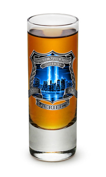 2 Ounces Shooter Shot Glass Tribute High Honor Police - Star Spangled 1776