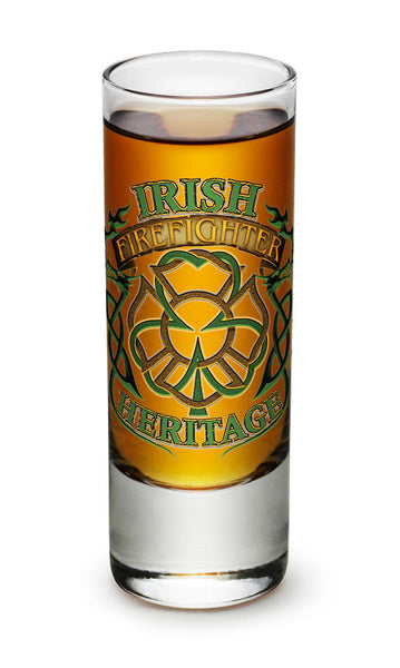 2 Ounces Shooter Shot Glass Firefighter Irish Heritage - Star Spangled 1776
