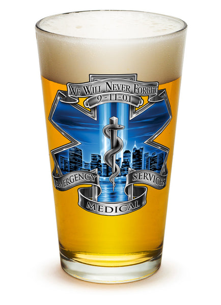 16 Ounces Pint Glass 911 EMS Blue Skies