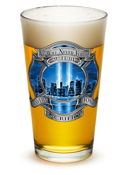 16 Ounces Pint Glass 911 Firefighter Blue Skies
