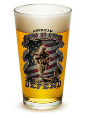 16 Ounces Pint Glass American Soldier