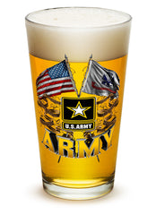 16 Ounces Pint Glass Army Double Flag US Army