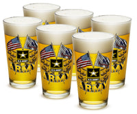 16 Ounces Pint Glass Army Double Flag US Army - Star Spangled 1776
