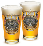 16 Ounces Pint Glass Army Gold Shield - Star Spangled 1776