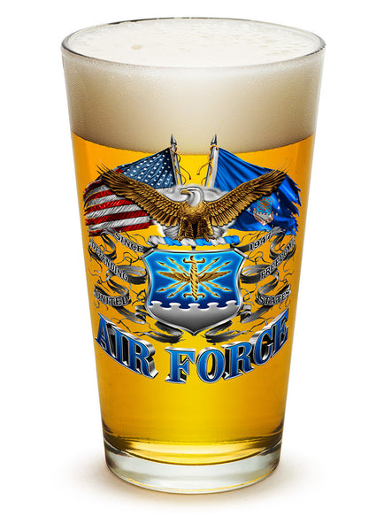 16 Ounces Pint Glass Double Flag Air Force Eagle - Star Spangled 1776