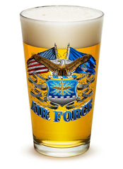 16 Ounces Pint Glass Double Flag Air Force Eagle
