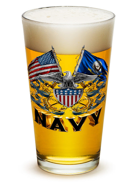 16 Ounces Pint Glass Double Flag Eagle Navy Shield - Star Spangled 1776