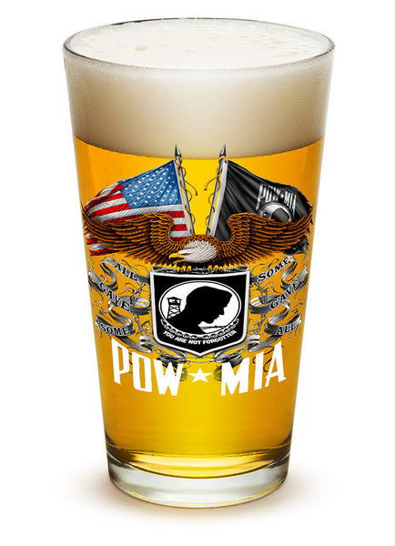 16 Ounces Pint Glass Double Flag Eagle POW - Star Spangled 1776