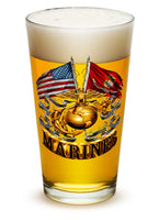 16 Ounces Pint Glass Double Flag Gold Globe Marine Corps - Star Spangled 1776
