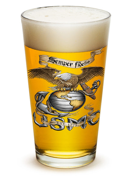 16 Ounces Pint Glass Eagle USMC