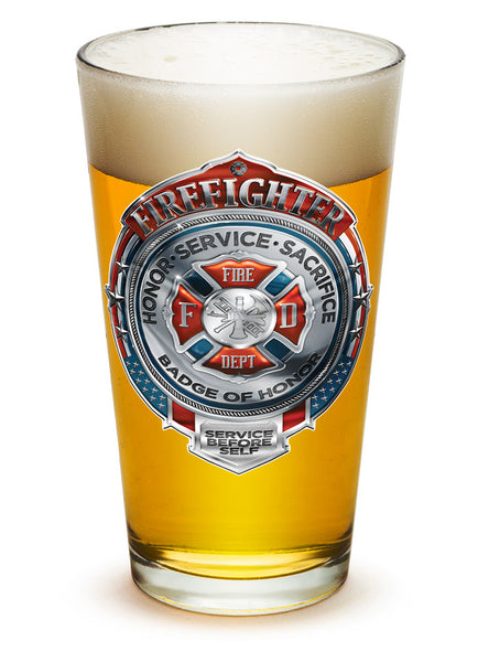 16 Ounces Pint Glass Fire Honor Service Sacrifice Chrome Badge